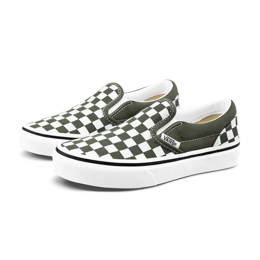 VANS Classic Slip-On Kids Shoes Grape Leaf/True White Checkerboard FOOTWEAR - Youth and Toddler Skate Shoes Vans