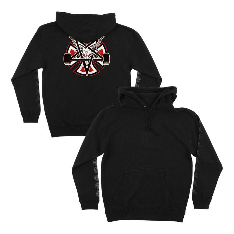 INDEPENDENT Indy X Thrasher Pentagram Cross Pullover Hoodie Black MENS APPAREL - Men's Pullover Hoodies Independent