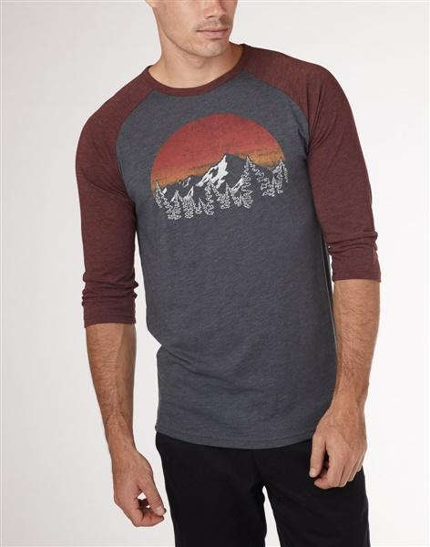 TENTREE Vintage Sunset 3/4 T-Shirt Gargoyle Grey/Red Mahogany