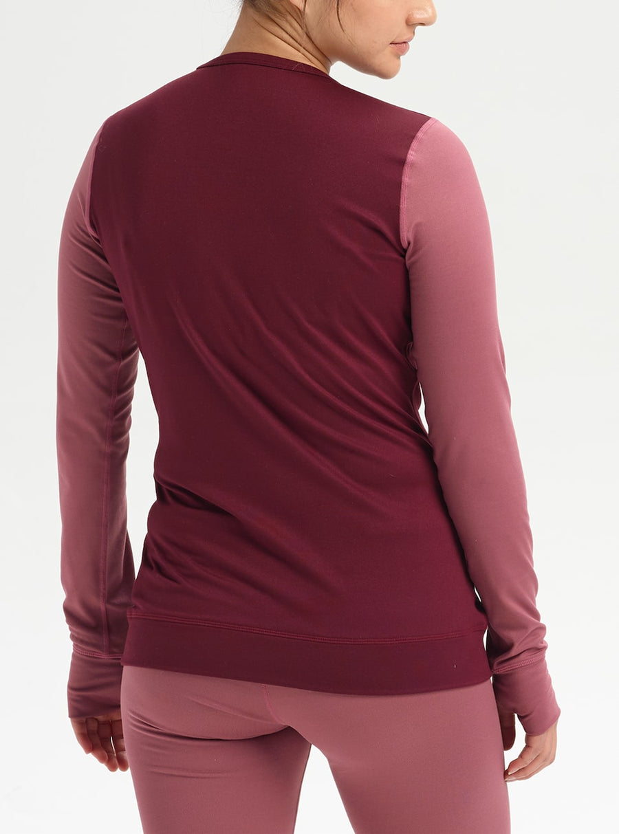 BURTON Midweight Base Layer Crew Womens Rose Brown/Port Royal