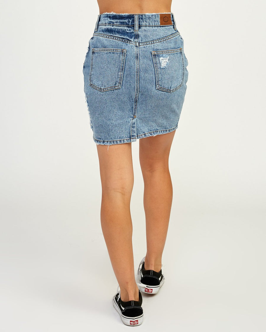 RVCA Jolt High Waist Denim Skirt Women's Sky Blue