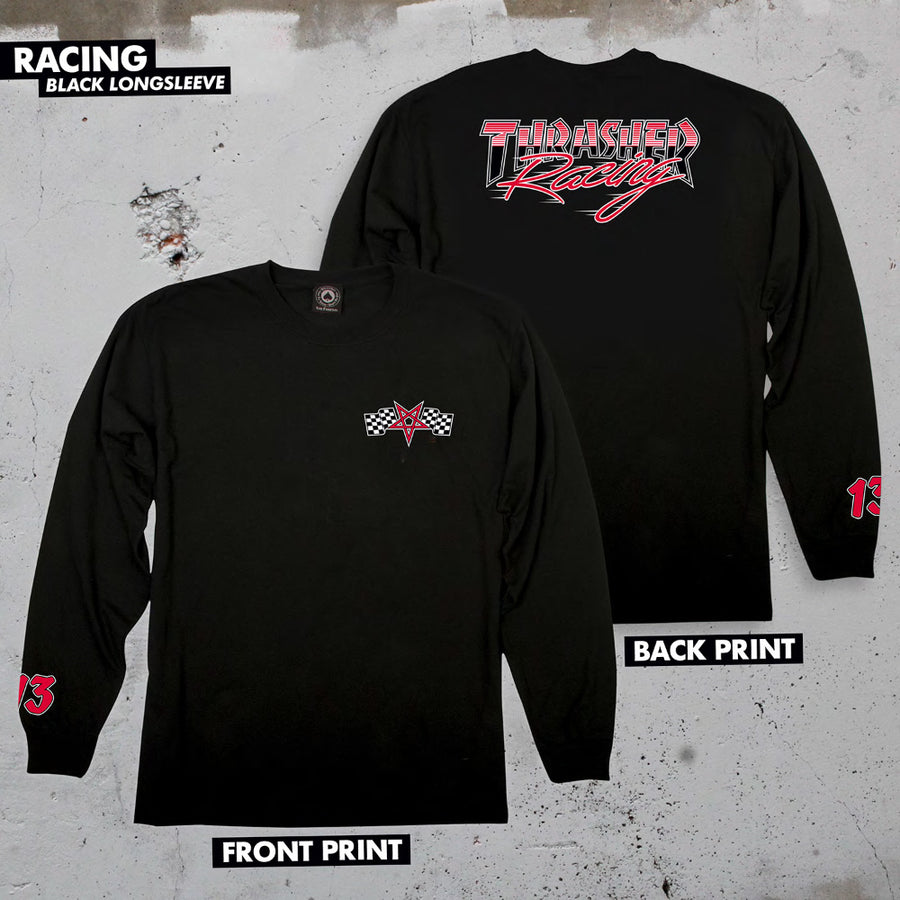 THRASHER Racing L/S T-Shirt Black