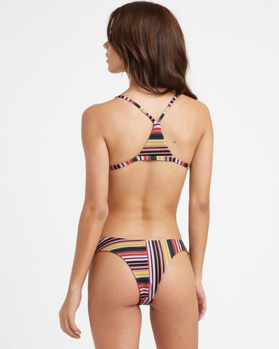 RVCA Talum Striped Racerback Bikini Top Burnt Red WOMENS APPAREL - Women's Swimwear Tops RVCA
