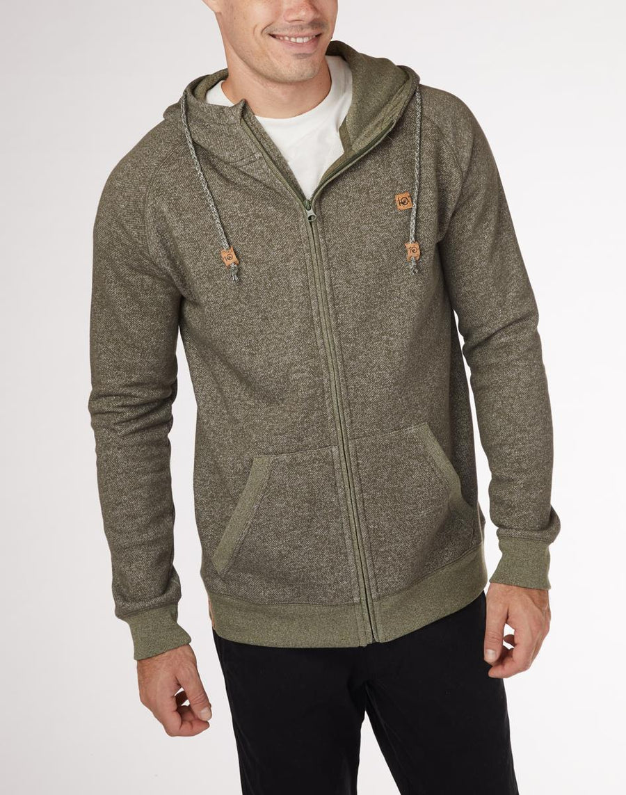 TENTREE Oberon Zip Hoodie Olive Night Green Marled