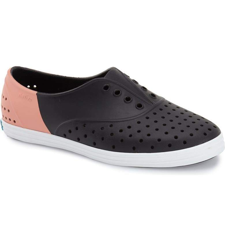 NATIVE Jericho Block Shoes Women's Jiffy Black/Shell White/Cockatoo Block FOOTWEAR - Women's Native and People Shoes Native Shoes
