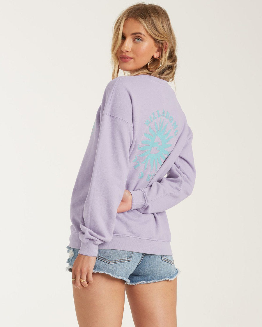 BILLABONG Wave Washed Fleece Sweater Women's Lovely Lilac WOMENS APPAREL - Women's Knits and Sweaters Billabong