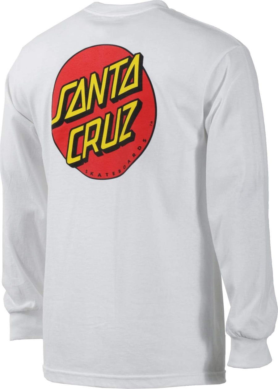 SANTA CRUZ Classic Dot Long Sleeve T-Shirt White MENS APPAREL - Men's Long Sleeve T-Shirts Santa Cruz