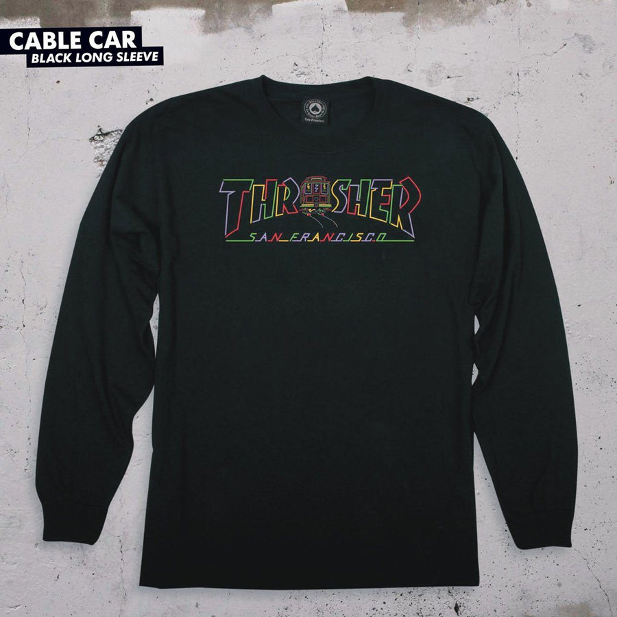 THRASHER Cable Car L/S T-Shirt Black