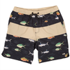 SALTY CREW Fish Stamp Elastic Boardshorts Black MENS APPAREL - Men's Boardshorts Salty Crew