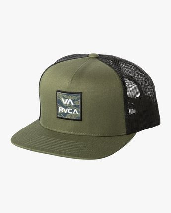 RVCA All The Way Trucker Floral Hat Olive