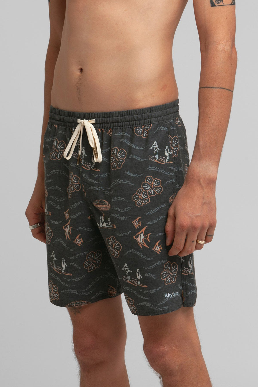 RHYTHM Weekender Beach Short Vintage Black MENS APPAREL - Men's Boardshorts Rhythm