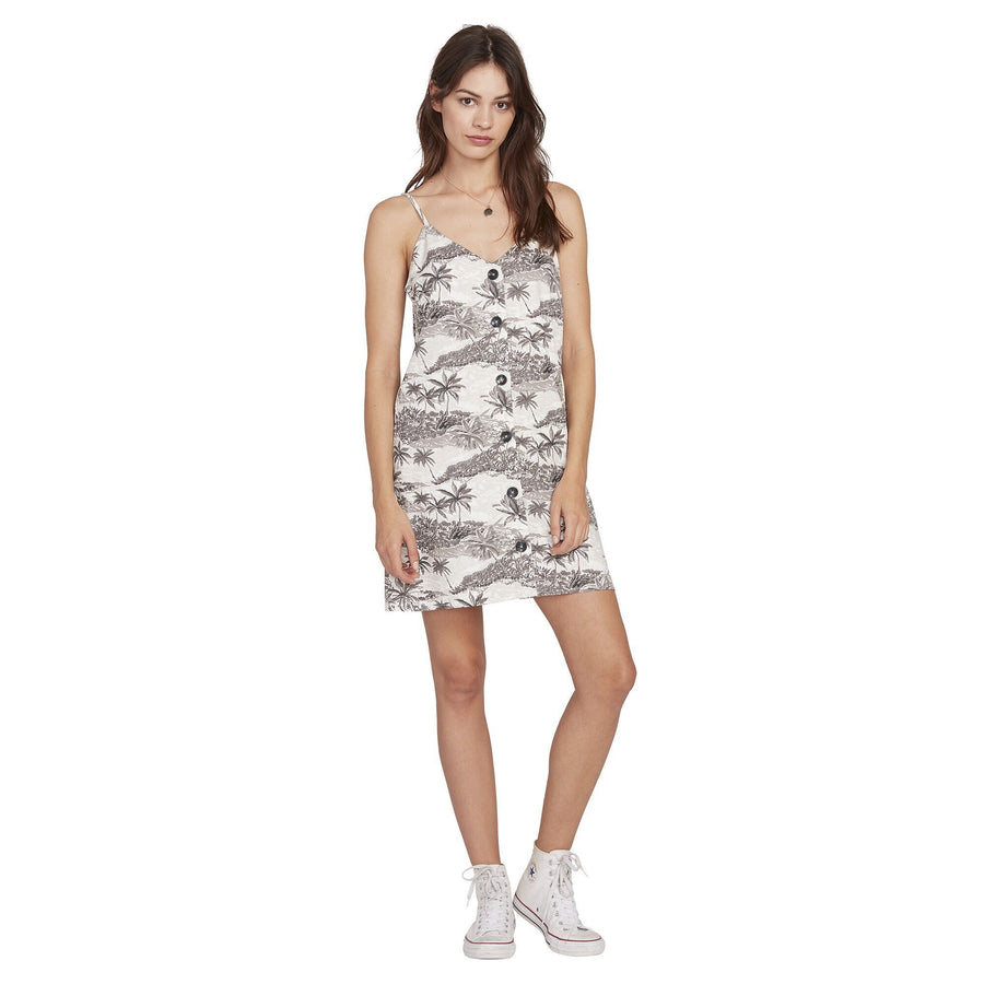 VOLCOM Vacay Me Dress Women's Star White