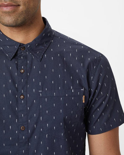 TENTREE Cotton S/S Button Up Shirt Dark Ocean Blue