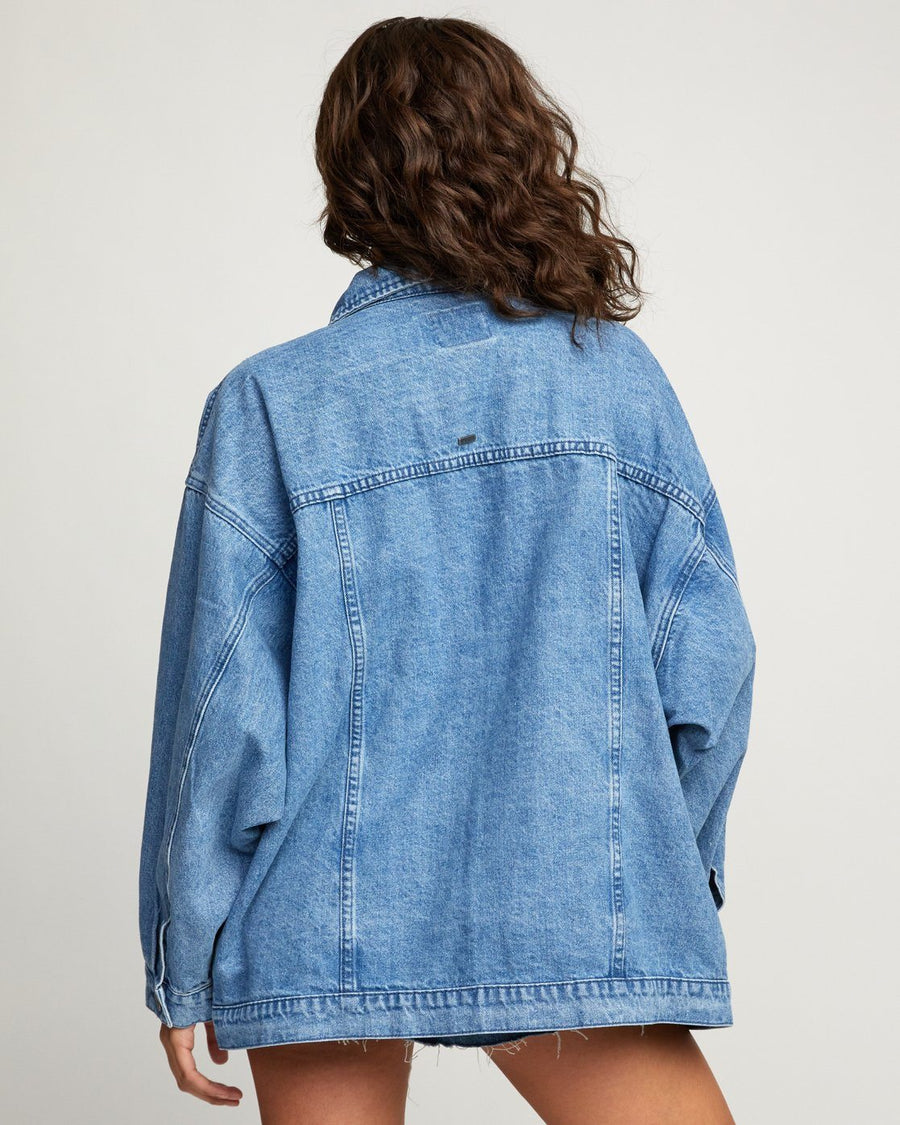 RVCA Lounger Denim Jacket Women's Washed Out Blue WOMENS APPAREL - Women's Street Jackets RVCA