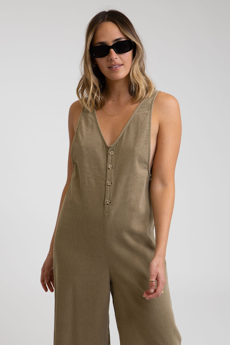 RHYTHM Cape Town Jumpsuit Women's Olive WOMENS APPAREL - Women's Jumpers and Rompers Rhythm