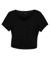 HURLEY Woven Tie Set Top Women's Black