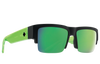 SPY Cyrus 5050 Soft Matte Black Translucent Green - HD Plus Grey Green With Green Spectra Mirror Sunglasses