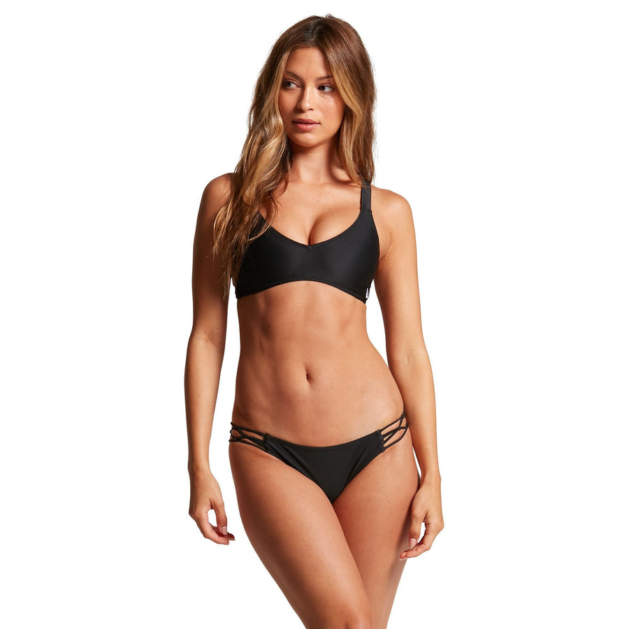 VOLCOM Simply Solid Full Bikini Bottom Women's Black WOMENS APPAREL - Women's Swimwear Bottoms Volcom