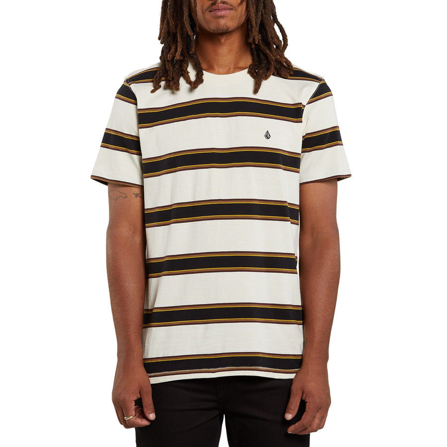 VOLCOM Da Fino Stripe T-Shirt Pewter MENS APPAREL - Men's Short Sleeve T-Shirts Volcom