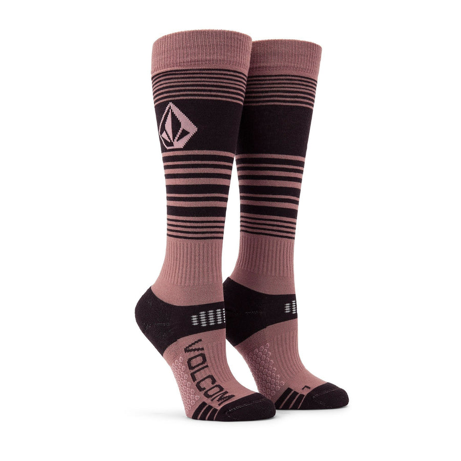VOLCOM Tundra Tech Snowboard Socks Women's Rose Wood SNOWBOARD ACCESSORIES - Women's Snowboard Socks Volcom