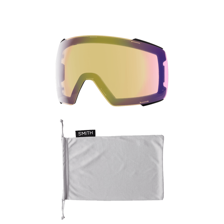 SMITH I/O MAG Black - ChromaPop Sun Red Mirror + ChromaPop Storm Yellow Flash Snow Goggle GOGGLES - Smith Goggles Smith