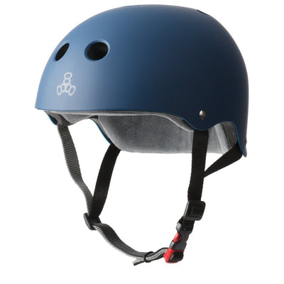 TRIPLE EIGHT Certified Sweatsaver Skateboard Helmet Navy Rubber SKATE SHOP - Skateboard Helmets Triple Eight XS/S