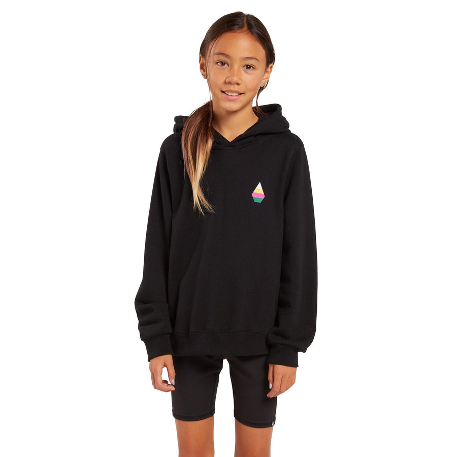 VOLCOM Knew Wave Pullover Hoodie Girl's Black KIDS APPAREL - Girl's Hoodies Volcom