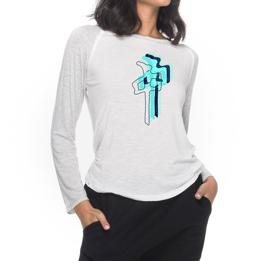 RDS Layered Chung 3/4 Sleeve T-Shirt Women's White/ Athletic Heather WOMENS APPAREL - Women's 34 Sleeve T-Shirts RDS S