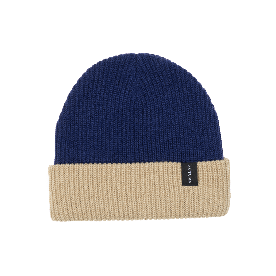 AUTUMN Select Blocked Beanie Navy MENS ACCESSORIES - Men's Beanies Autumn