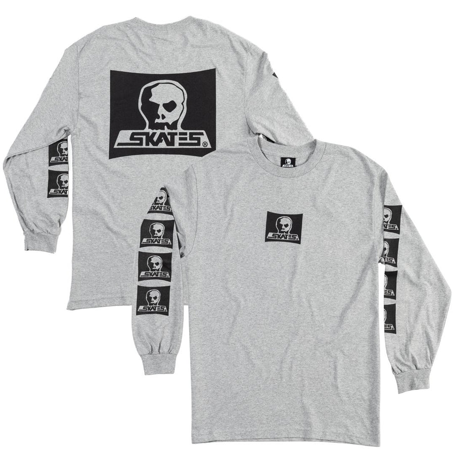 SKULL SKATES Skull Logo L/S T-Shirt Athletic Heather MENS APPAREL - Men's Long Sleeve T-Shirts Skull Skates