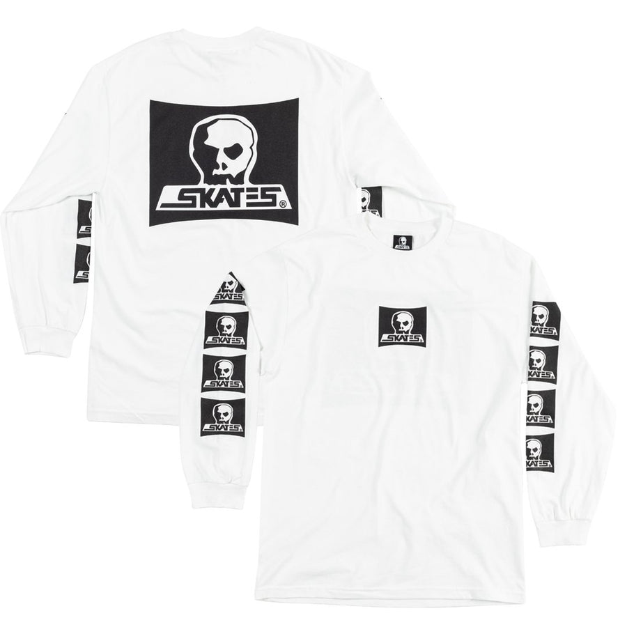 SKULL SKATES Skull Logo L/S T-Shirt White MENS APPAREL - Men's Long Sleeve T-Shirts Skull Skates