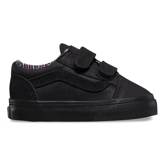 VANS Old Skool V (Cord & Plaid) Shoes Toddler Black/Black FOOTWEAR - Youth and Toddler Skate Shoes Vans 10