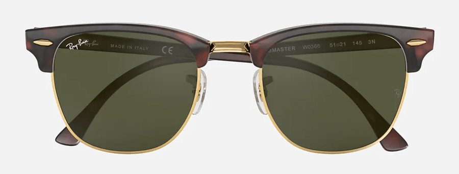 RAY-BAN Clubmaster Classic Tortoise - Green Classic G-15 Sunglasses SUNGLASSES - Ray-Ban Sunglasses Ray-Ban