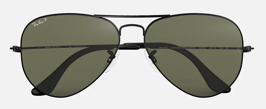 RAY-BAN Aviator Classic Black - Green Classic G-15 Polarized Sunglasses SUNGLASSES - Ray-Ban Sunglasses Ray-Ban