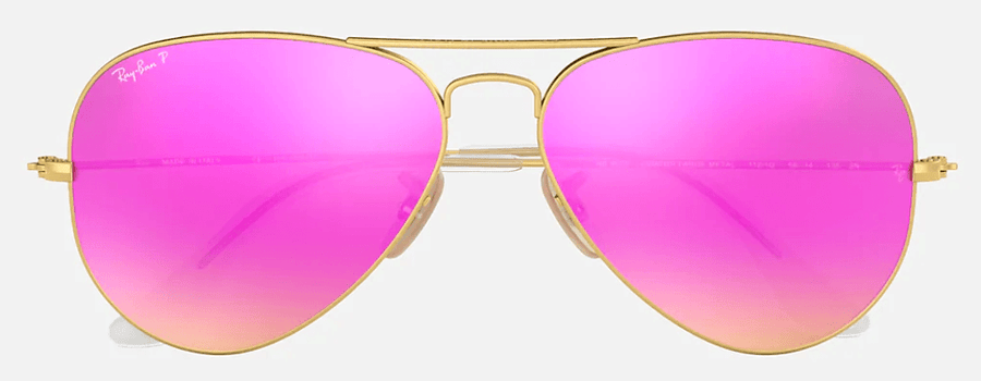 RAY-BAN Aviator Flash Lenses Gold - Cyclamen Flash Polarized Sunglasses SUNGLASSES - Ray-Ban Sunglasses Ray-Ban
