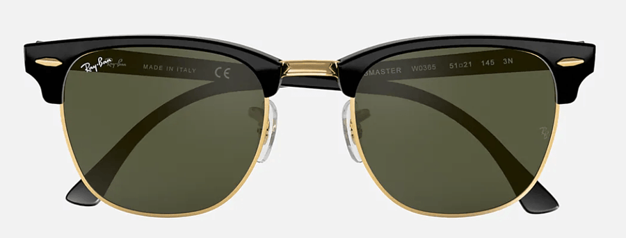 RAY-BAN Clubmaster Classic Black - Green Classic G-15 Sunglasses SUNGLASSES - Ray-Ban Sunglasses Ray-Ban