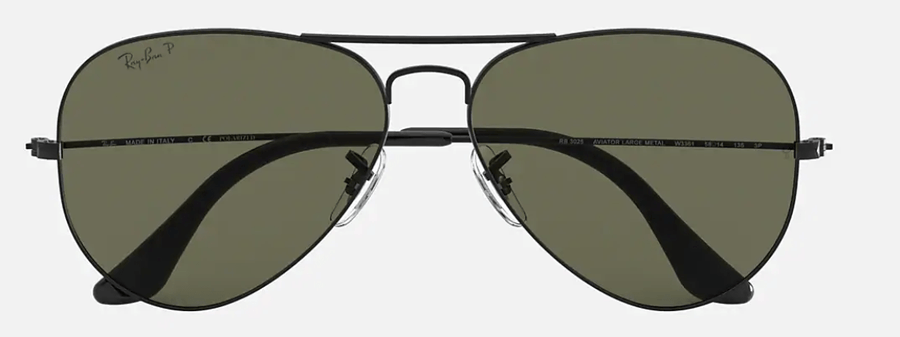 RAY-BAN Aviator Classic Matte Black - Green Classic G-15 Polarized Sunglasses SUNGLASSES - Ray-Ban Sunglasses Ray-Ban