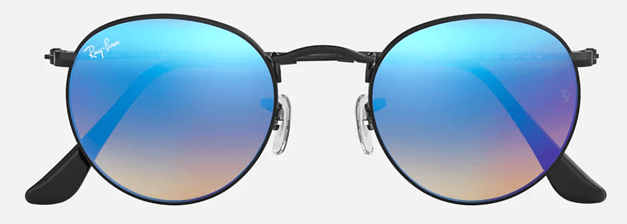 RAY-BAN Round Flash Black - Blue Gradient Flash Sunglasses SUNGLASSES - Ray-Ban Sunglasses Ray-Ban