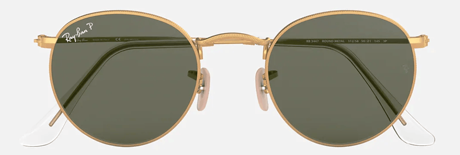 RAY-BAN Round Metal Gold - Green Classic G-15 Polarized Sunglasses SUNGLASSES - Ray-Ban Sunglasses Ray-Ban