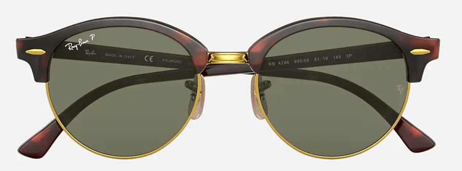 RAY-BAN Clubround Classic Tortoise - Green Classic G-15 Polarized Sunglasses SUNGLASSES - Ray-Ban Sunglasses Ray-Ban