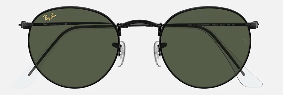 RAY-BAN Round Metal Black - Green Classic G-15 Sunglasses SUNGLASSES - Ray-Ban Sunglasses Ray-Ban
