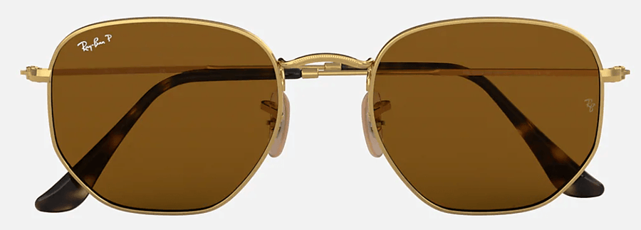RAY-BAN Hexagonal Flat Lenses Gold - Brown Classic B-15 Polarized Sunglasses SUNGLASSES - Ray-Ban Sunglasses Ray-Ban