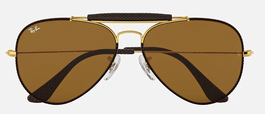 RAY-BAN Outdoorsman Craft Brown/Gold - Brown Classic B-15 Sunglasses SUNGLASSES - Ray-Ban Sunglasses Ray-Ban