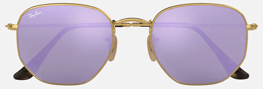 RAY-BAN Hexagonal Flat Lenses Gold - Lilac Mirror Sunglasses SUNGLASSES - Ray-Ban Sunglasses Ray-Ban