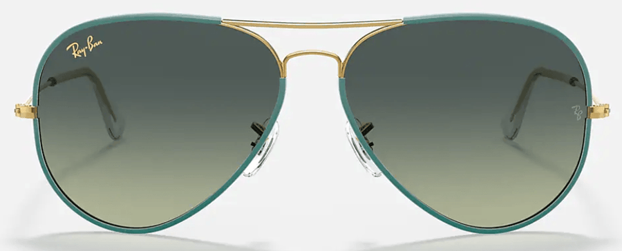 RAY-BAN Aviator Full Color Legend Green Gold - Green/ Blue Gradient SUNGLASSES - Ray-Ban Sunglasses Ray-Ban
