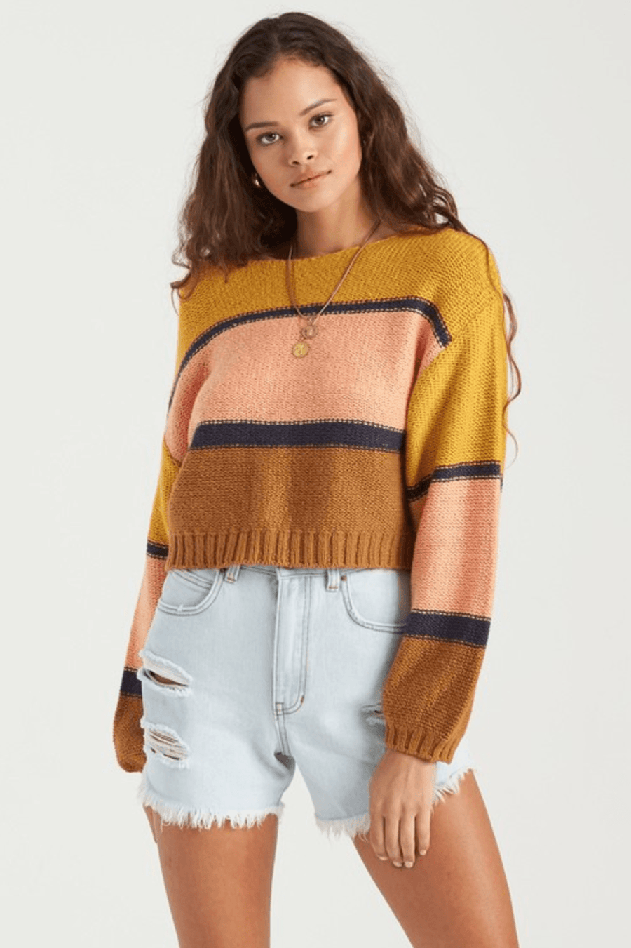 BILLABONG Seeing Stripes Sweater Women's Antique Gold WOMENS APPAREL - Women's Knits and Sweaters Billabong