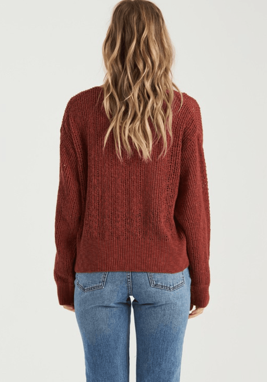 BILLABONG Feel The Breeze Sweater Women's Chestnut WOMENS APPAREL - Women's Knits and Sweaters Billabong