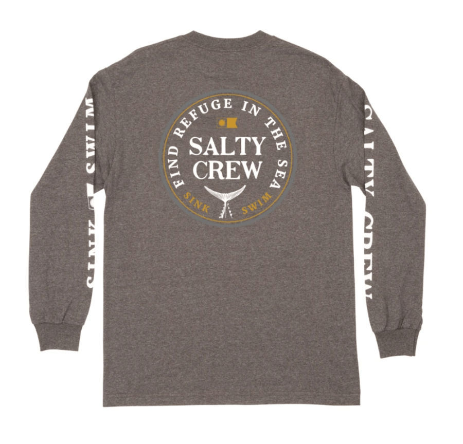 SALTY CREW Fathom L/S T-Shirt Charcoal Heather MENS APPAREL - Men's Long Sleeve T-Shirts Salty Crew
