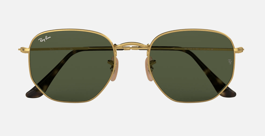 RAY-BAN Hexagonal Flat Lenses Gold - Green Classic G-15 Sunglasses SUNGLASSES - Ray-Ban Sunglasses Ray-Ban
