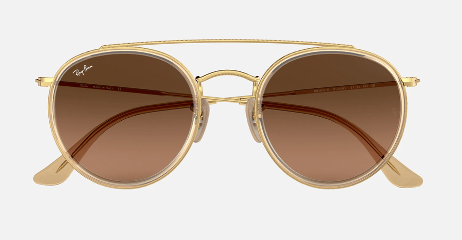 RAY-BAN Round Double Bridge Gold - Brown Gradient Sunglasses SUNGLASSES - Ray-Ban Sunglasses Ray-Ban